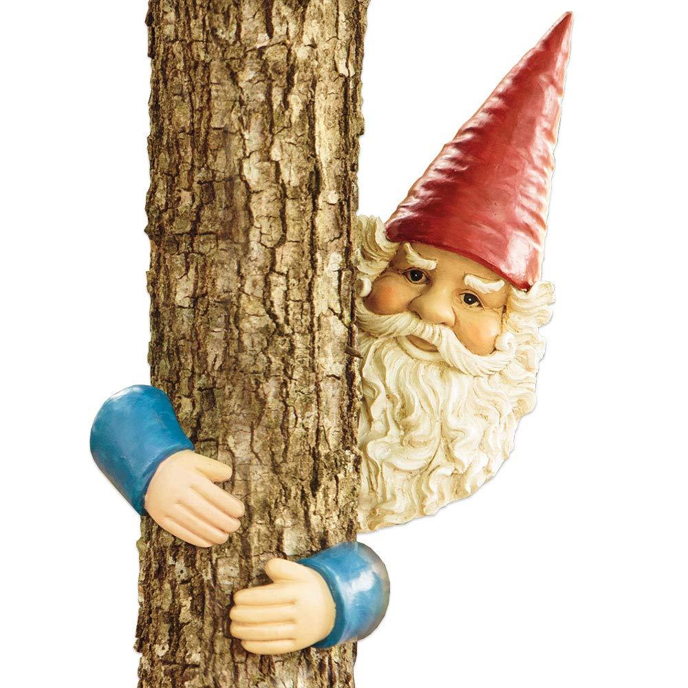 Bits and Pieces - Gnome Tree Hugger - Garden Peeker Yard Art - Whimsical Tree Sculpture Garden Decoration
