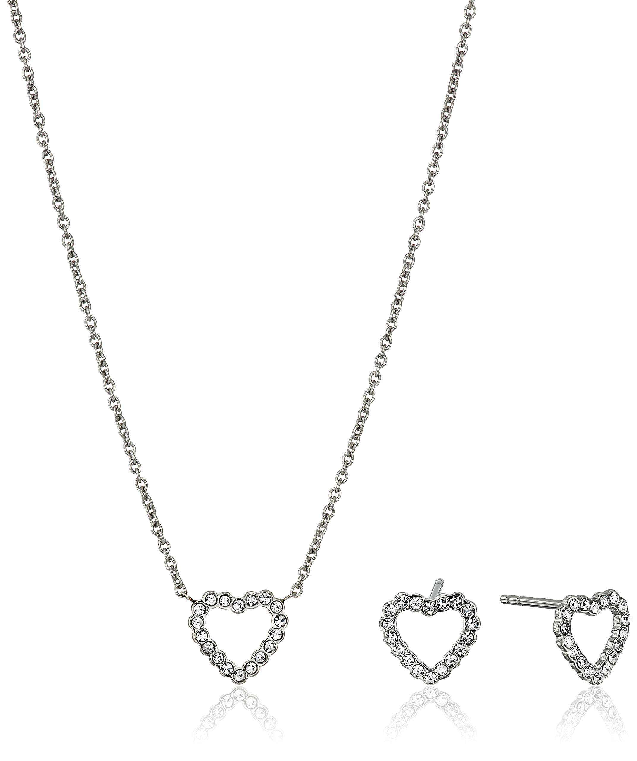 Fossil Women's Open Heart Stainless Steel Studs and Necklace Box Set