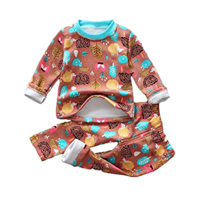 Allywit Baby Infant Girls Boys Autumn Winter Cartoon Print Warm Clothes Outfits Set