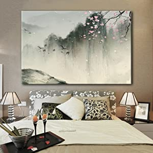 wall26 Canvas Wall Art - Chinese Ink Painting of Mountain Landscape in Spring with Birds and Cherry Blossom - Giclee Print Gallery Wrap Modern Home Art Ready to Hang - 16x24 inches