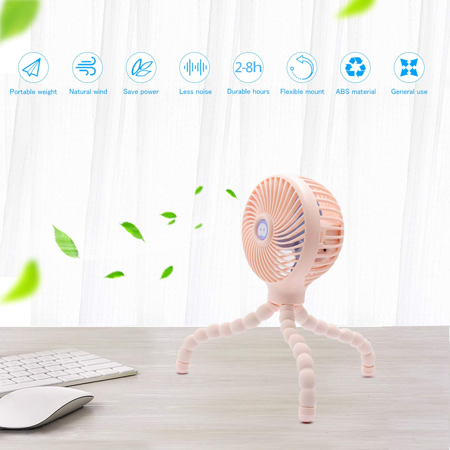 Pink Mini Handheld Stroller Fan Rechargeable Fan for Office Room Car Traveling BBQ Gym Fan with 3 Settings Gift for Children TRELC Personal Portable Baby Fan with Flexible Tripod