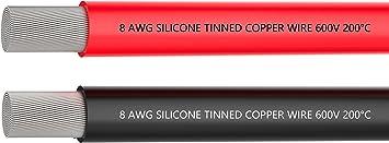 c/âble de batterie 3 m C/âble de silicone souple et flexible 8 AWG noir 1650 brins de fil de cuivre /étam/é pour a/éronef RC C/âble de serrage de batterie automatique Fil /électrique de calibre 8