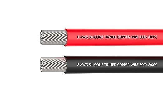 8-Gauge-Elektrokabel, Batteriekabel [1,5 m Schwarz und 1,5 m Rot] 8 ...