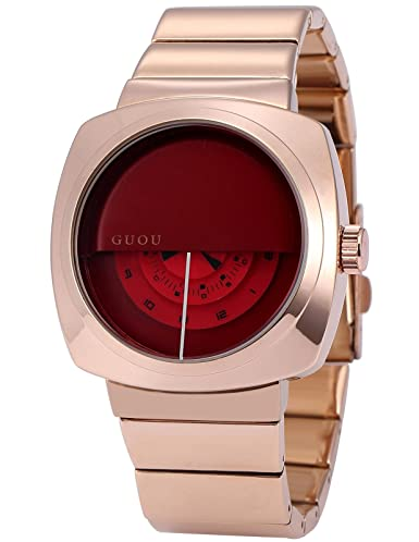 AMPM24 WK1249 Reloj Señorita Cuadro de Acero Inoxidable, Dial Rojo: Amazon.es: Relojes