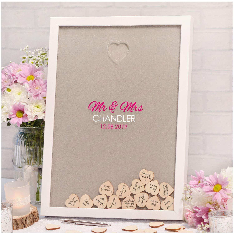Mr /& Mrs Wood Piece Holder Wooden Wedding Heart Drop Box for Guest Book Message