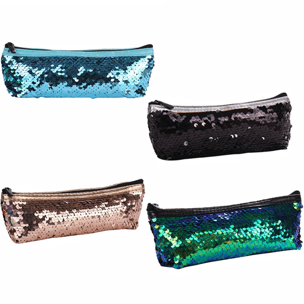 Gentman Mermaid Sequin Cosmetic Bag Colorful Simple Sequins Pen Bag Small Cosmetic Storage Bag Party Bags for Girls and Women