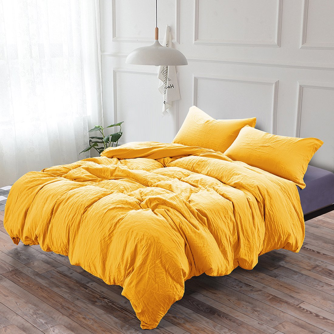 Whitney Home Textile Egyptian Quality 1800 Thread Count Stone Washed Microfiber Duvet Cover Set 2 Pieces - Hypoallergenic Quilt Case - Fade Stain Resistant Comforter Cover - Bedding Yellow Twin