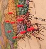 Map Magnets - 40 Magnetic Push Pins in Red - Tiny Colorful Map Magnets Perfect for Marking Travels or Decorating a Home or Office