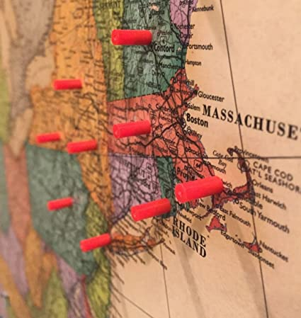 amazon com map magnets 40 magnetic push pins in red tiny