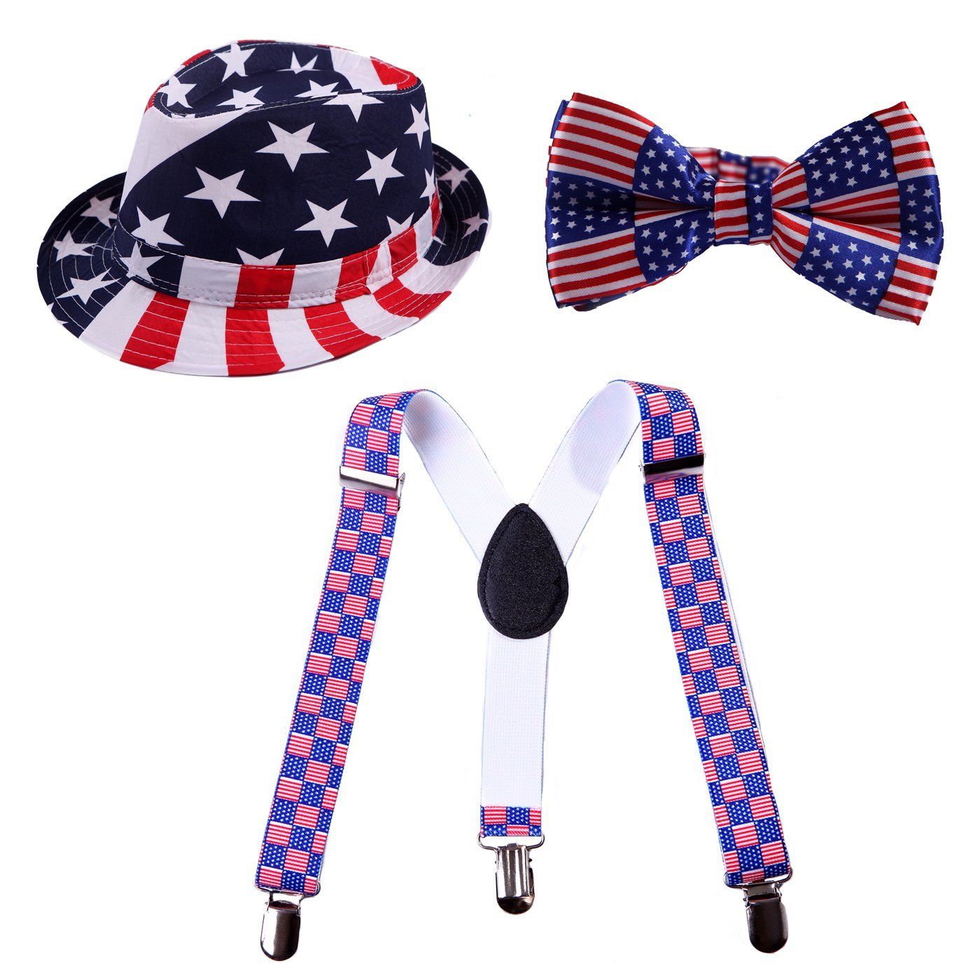 HDE Kid's Funky Design Solid Color Adjustable Elastic Clip Suspenders with Pre-Tied Microfiber Neck Strap Bow tie and Short Brim Trilby Fedora Hat (US Flag)