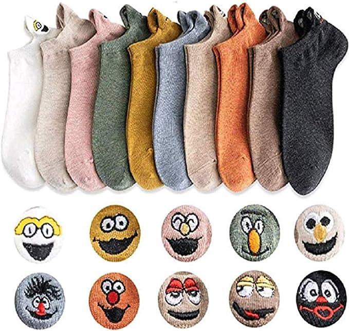 Adaya Calcetines tobilleros de expresión invisible de algodón para mujer Calcetines sonrientes de dibujos animados Transpirable absorbente de sudor Antifricción (Pair of 10): Amazon.es: Ropa y accesorios