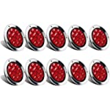 Partsam 10Pcs Red 4' Inch Round LED Trailer Tail Lights 12LED Flange Mount Stainless Steel Chrome Bezel Waterproof Stop…