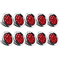 """Partsam 10Pcs Red 4"""" Inch Round LED Trailer Tail Lights 12LED Flange Mount Stainless Steel Chrome Bezel Waterproof Stop…"""