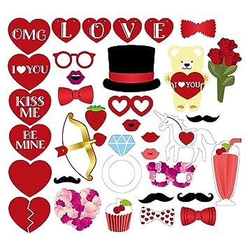 Amazon Com Valentine S Day Wedding Photo Booth Props Set Of 35