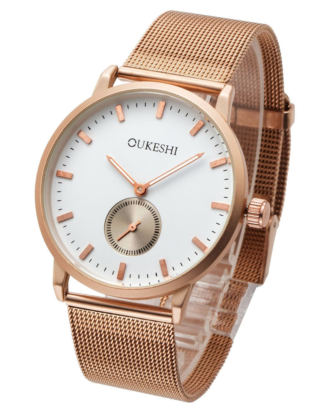 Top Plaza Unisex Elegant Simple Rose Gold Tone Milanese Magnetic Mesh Alloy Band Second Dial Big Face Analog Quartz Watch 30M Waterproof(White)