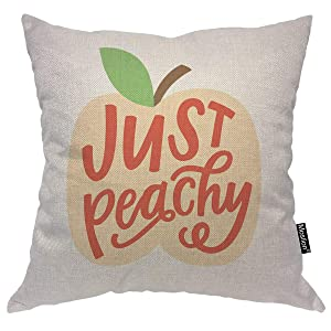 Moslion Throw Pillow Cover Peach 18x18 Inch Just Peachy Quote Word Hand Lettering Leaf Fruit Square Pillow Case Cushion Cover for Home Car Decorative Cotton Linen