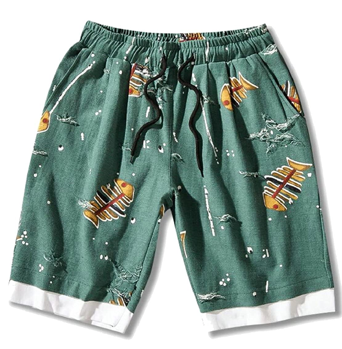 omniscient s Summer Cotton Print Shorts Swimsuit Beach Shorts