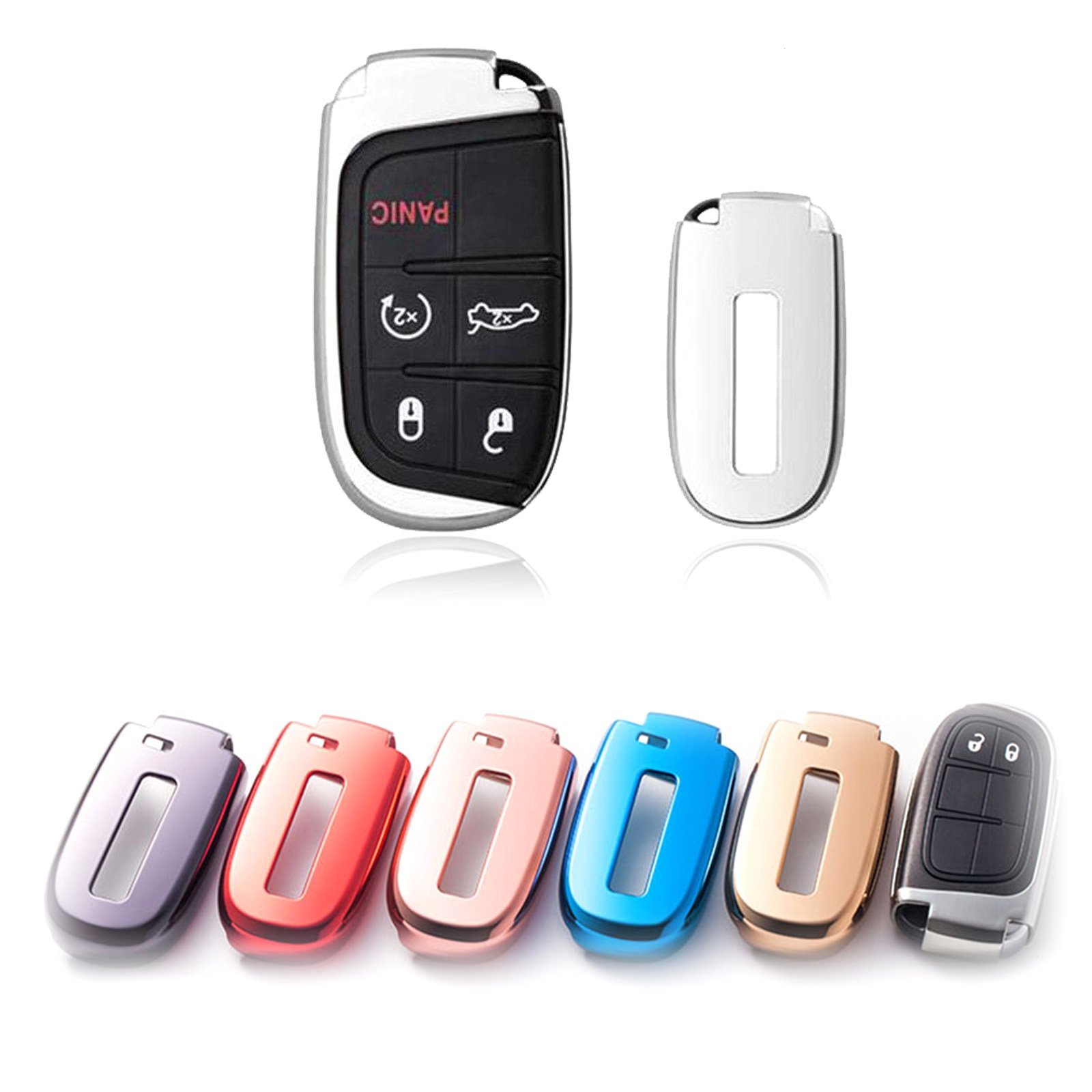 Soft TPU Silver Remote Smart Key Fob Shell Cover For Jeep Chrysler Dodge
