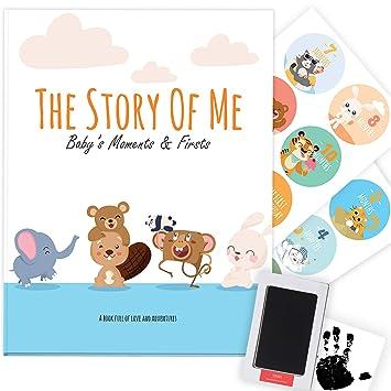 Handprint /& Footprint Ink Pad Kit Modern Newborn Photo Album Keepsake Scrapbook Journal to Record Milestones Designer Baby Memory Book Gift Set Boy /& Girl Shower Gifts First 5 Year Baby Book