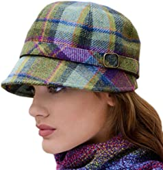 cc6db3ce64453 Ladies Plaid Flapper Hat, Made in Ireland, Purple