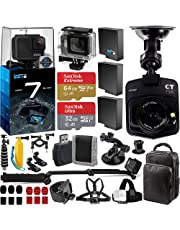 $439 Get GoPro HERO7 Hero 7 Black with Promotional Dash Cam - Includes: Underwater Housing 2X Spare Batteries SanDisk Extreme 64GB microSDXC & Ultra 32GB Memory Cards + Travel Case + More