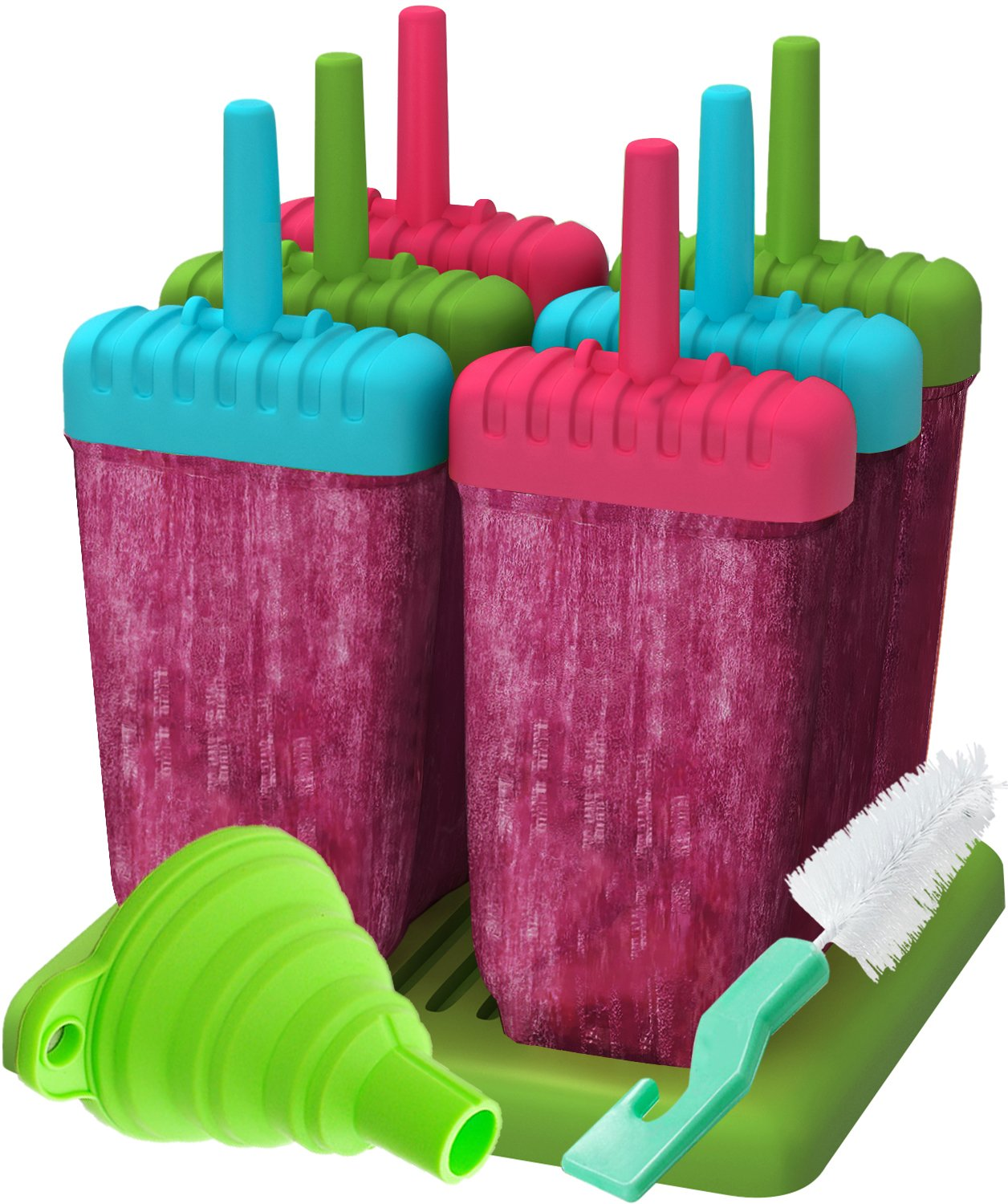 Ozera Reusable Popsicle Molds Ice Pop Molds Maker - Set of 6 - With Silicone Funnel & Cleaning Brush - Three Colors