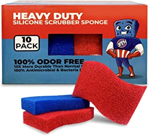 STK Heavy Duty Silicone Scrubber S-Sponges (10 Pack) - Modern Antimicrobial Kitchen Sponges - 100% Mold Mildew and Bacteria Resistant - Zero Smell Technology - Silicone Sponge - 10x More Durable