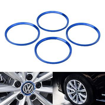 iJDMTOY 4pc Anodized Blue Aluminum Wheel Center Cap Surrounding Ring Decoration Trims For Volkswagen 63-65mm Center Caps