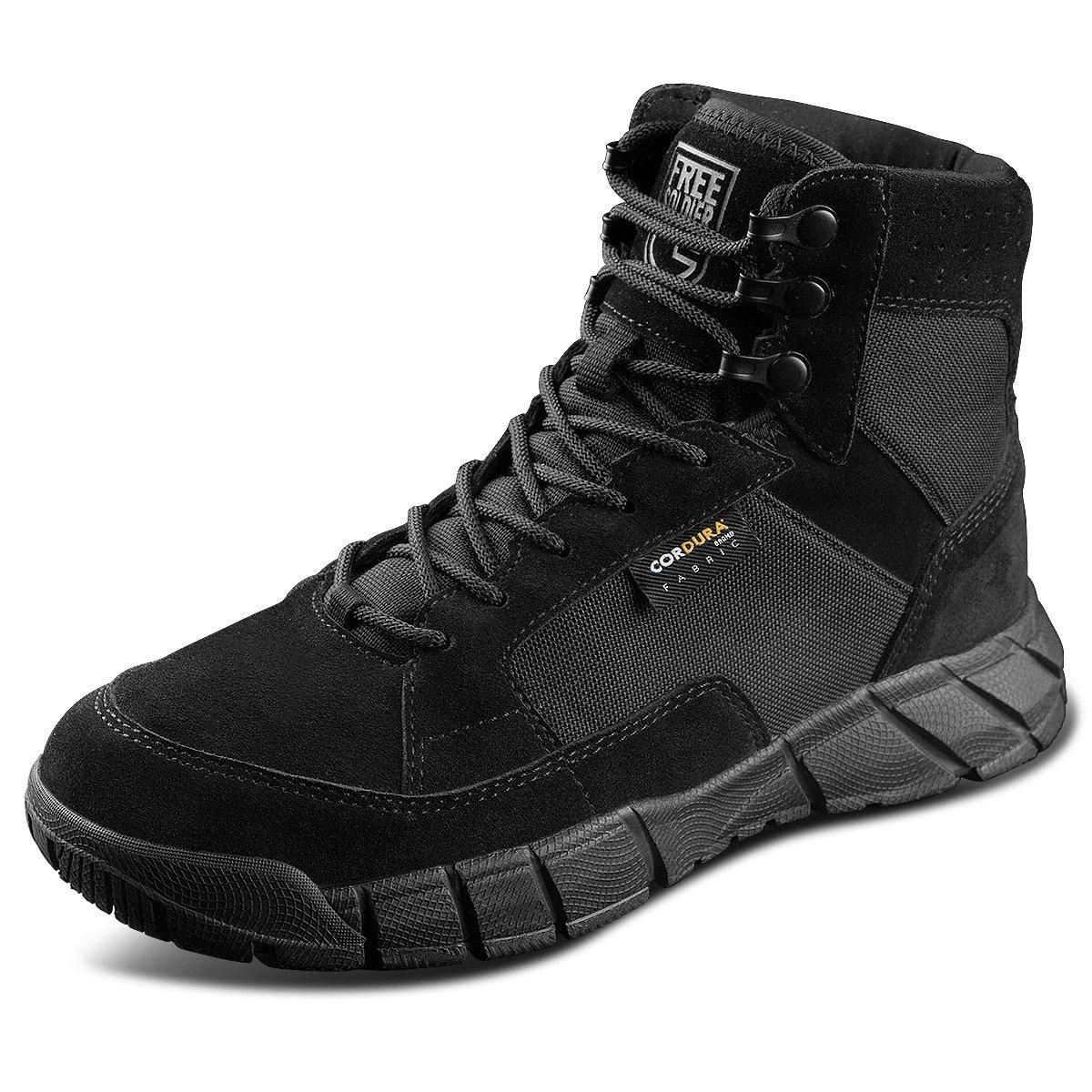 Free Soldier Outdoor 2da Generación Hombre Storm Transpirable Durable Zapatos de Cordones Tácticos Zapatos de Senderismo Zapatos de combate del Ejército Militar(Negro,41) 41|negro