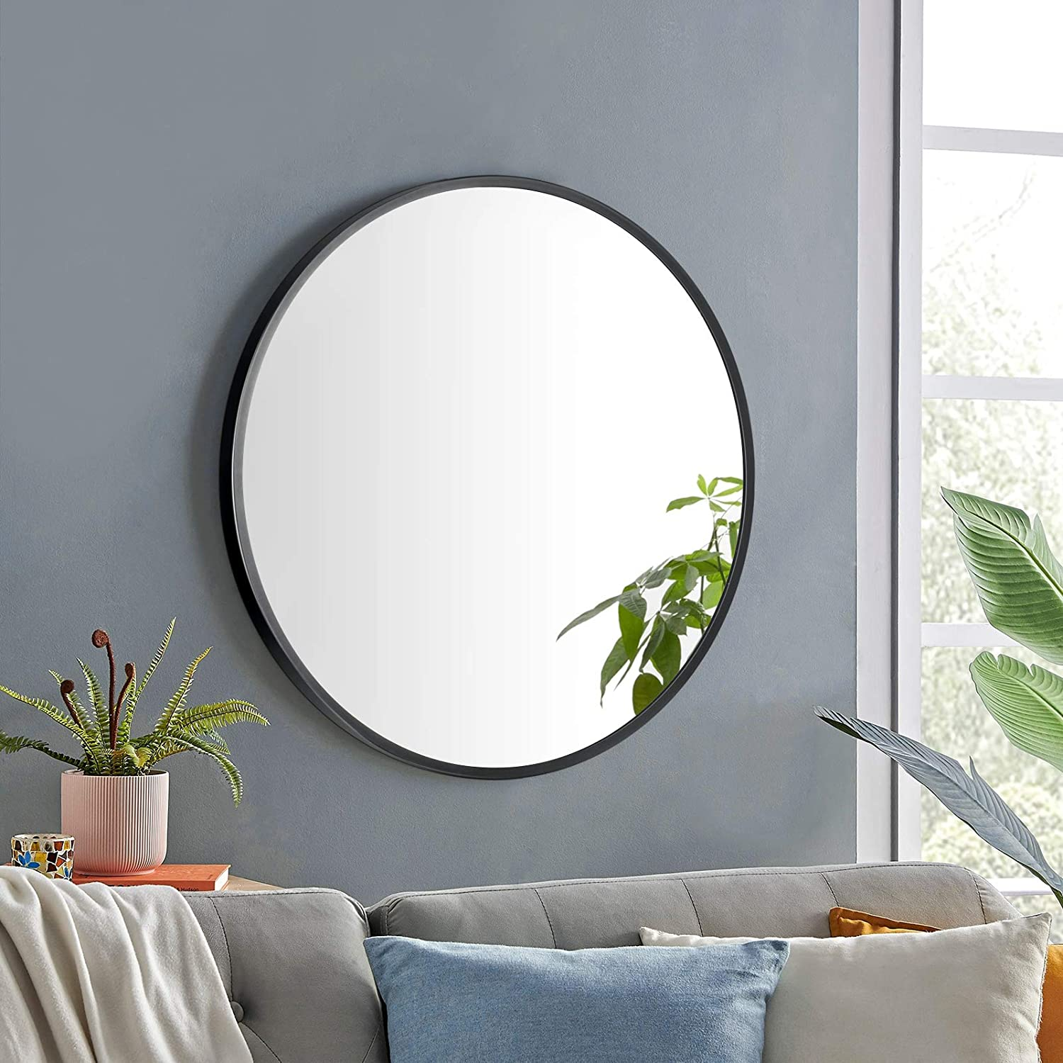Albrillo 24 Inch Round Mirror, Wall Mounted Mirror Black Circle Mirror with Metal Frame for Bathroom, Vanity, Entryway, Living Room, Wall Decor