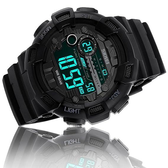 Reloj digital deportivo de hombre, impermeable, con temporizador, alarma, cuenta atrás, sumergible a 50 m, color negro.: Amazon.es: Relojes