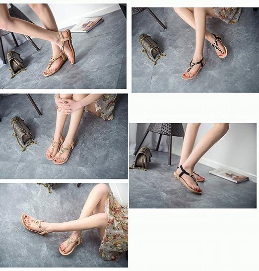 YTTY Flip Flop Weiblichen Sandalen Metallring Klee Clip Füße Flache Böhmische Sandalen und Hausschuhe, Schwarz, 42