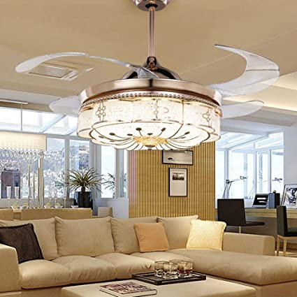 Colorled invisible ceiling fans living room remote control fan lights bedroom simple modern retractable belt led