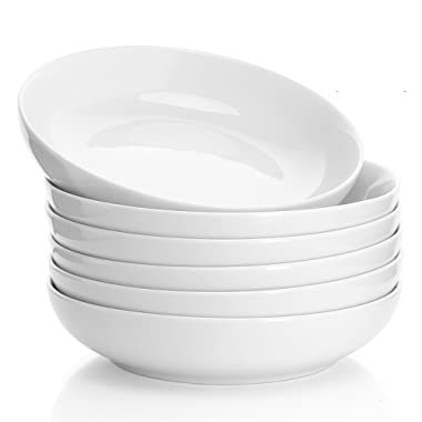 Sweese 112.001 Porcelain Salad Pasta Bowls - 22 Ounce - Set of 6, White