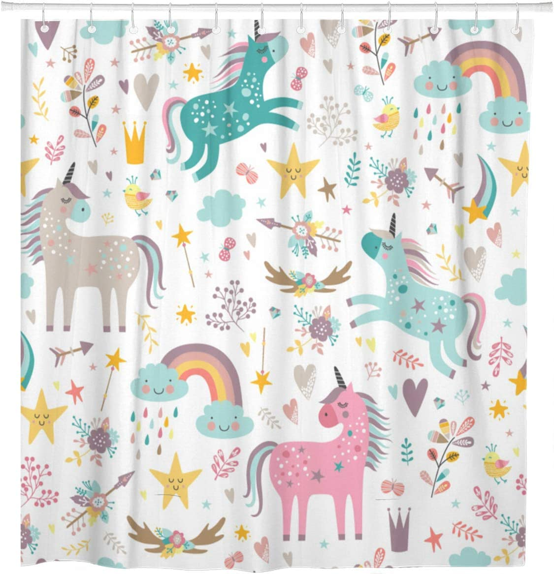 Emvency Shower Curtain Blue Pattern Unicorns Pink Baby Girl Animal Arrow Beautiful Waterproof Polyester Fabric 72 x 72 Inches Set with Hooks