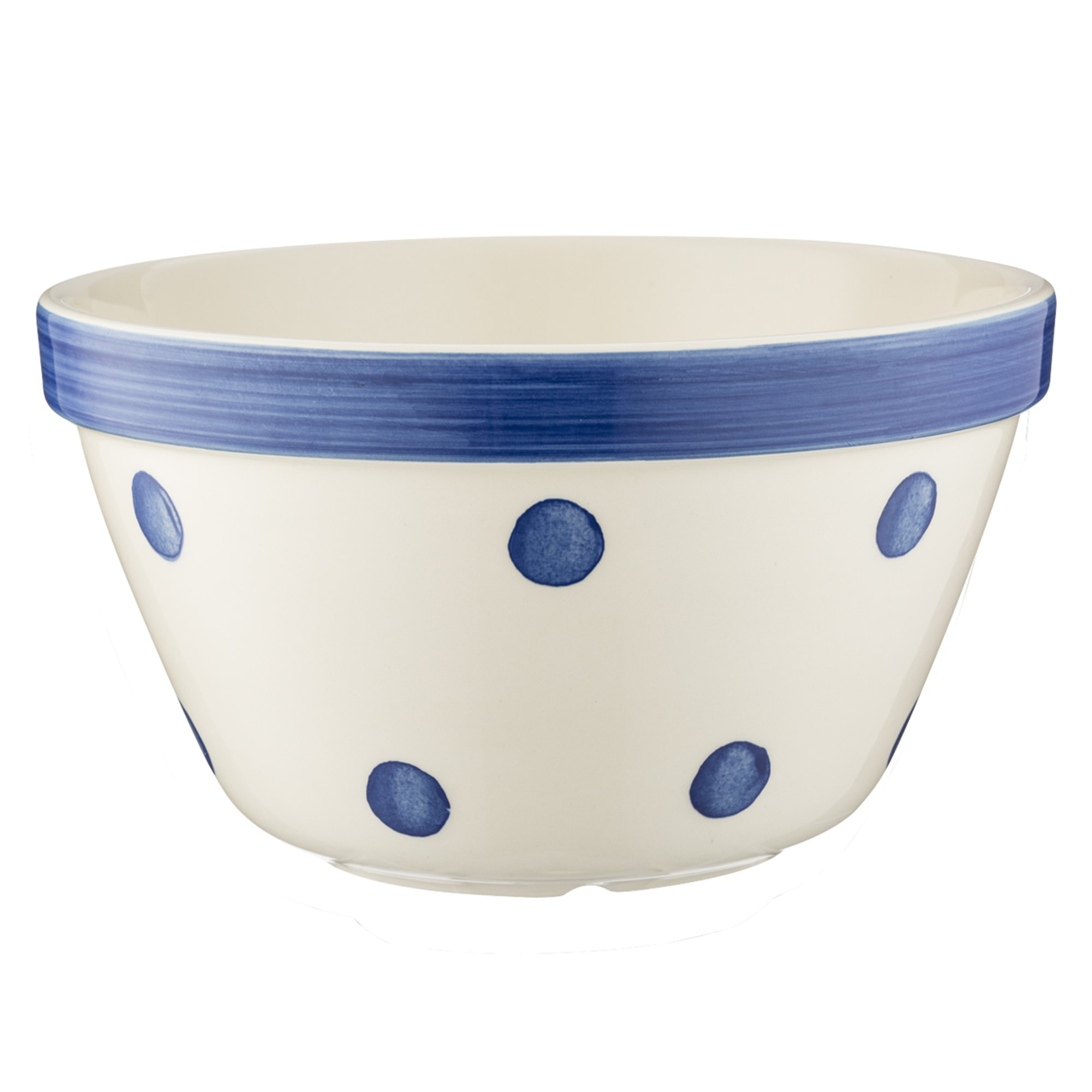 Mason Cash Spots All Purpose Bowl; Hand Painted; Made From Chip Resistant Earthenware; S30, 6-3/4-Inches by 4-Inches; White with Navy Spots