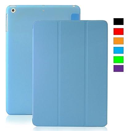 KHOMO Funda iPad Mini 4 - Carcasa Azul Celeste Semi Transparente con Soporte y Smart Cover para Nuevo Apple iPad Mini 4 - Clear Blue