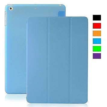 KHOMO Funda iPad Mini 1, 2, 3 - Carcasa Azul Semi Transparente Ultra Delgada con Smart Cover para Apple iPad Mini, Mini 2 Retina, Mini 3 - Clear Blue