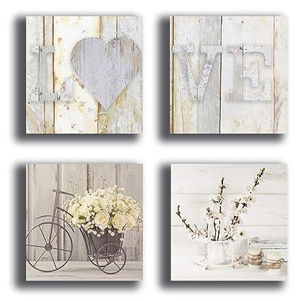 Quadretti da parete SHABBY CHIC camera da letto vintage bicicletta fiori 4  pezzi XXL Stampa Tela quadro moderno arredamento Arredo Salotto Camera da  ...