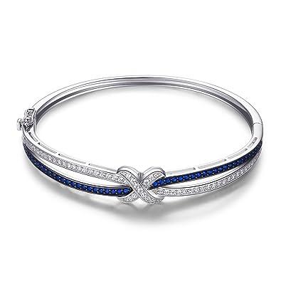 Argent Ct Mark 1 Bleu Créé Spinelle Bracelet X 1 Jewelrypalace iTwkZlOPXu