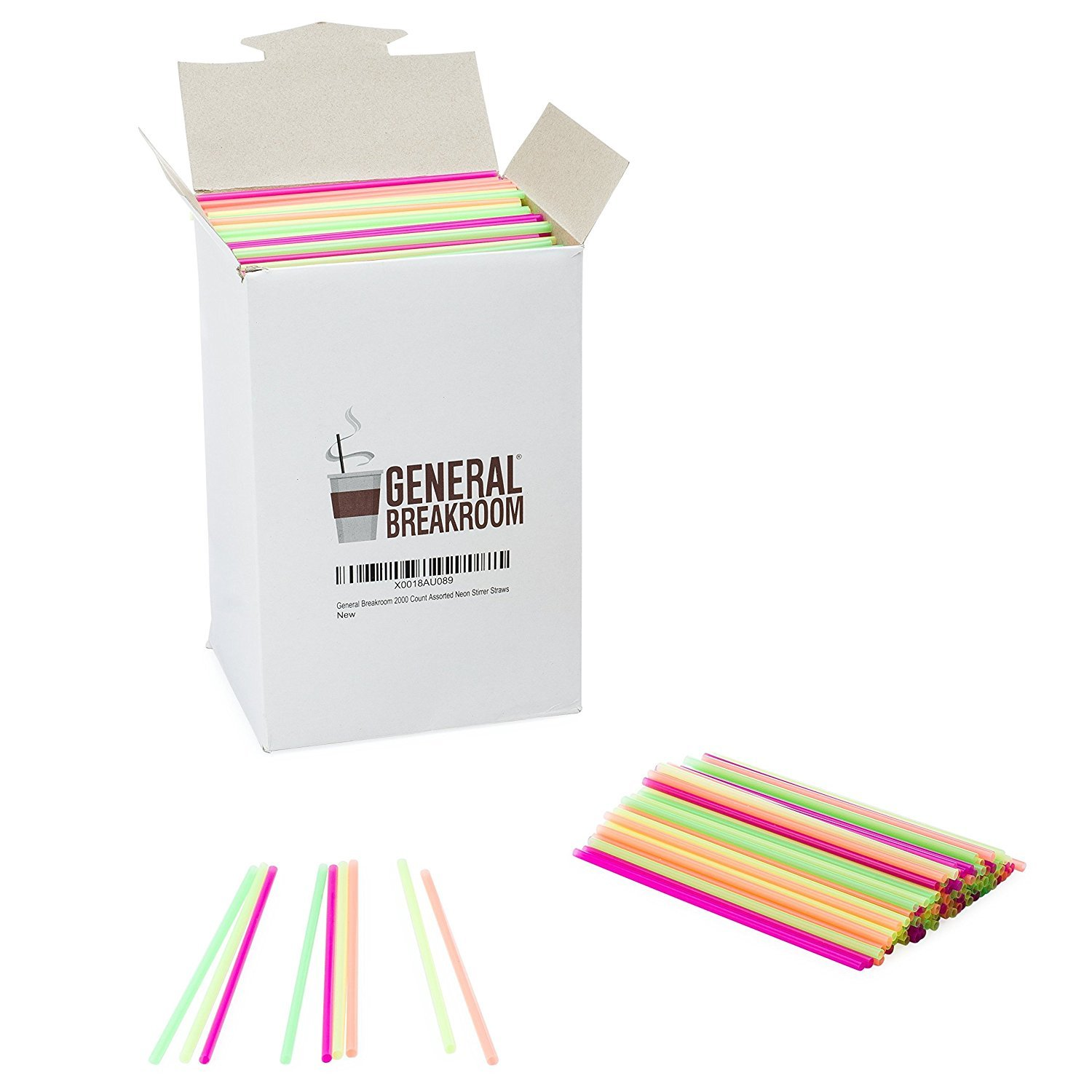 General Breakroom 2000-count, 5 1/2'' Coffee and Cocktail Drink Stirrer Straws, Assorted Neon, Pink, Yellow, Green, Orange