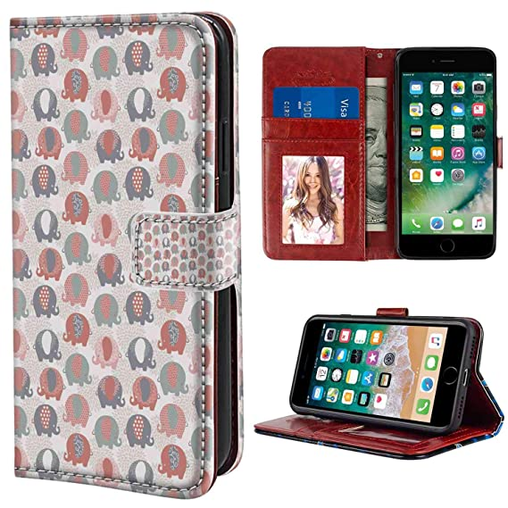 639571e35 iPhone 6, iPhone 6S Wallet Case, Elephant Nursery Cute Animal Figures with  Ethnic Styled