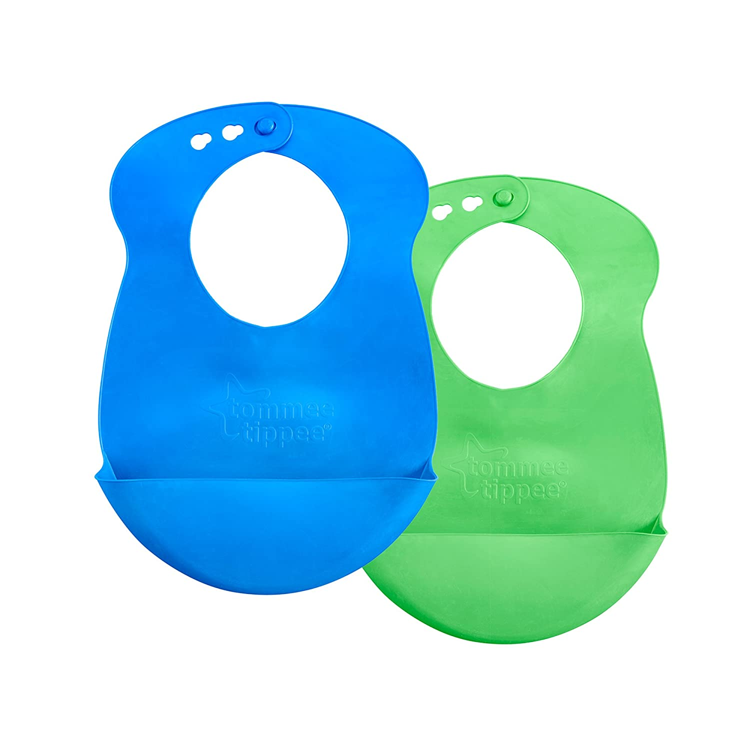 Tommee Tippee Easi Roll Drip Catcher Baby Bib, 7+ months - Blue and Green, 2 Count 563516