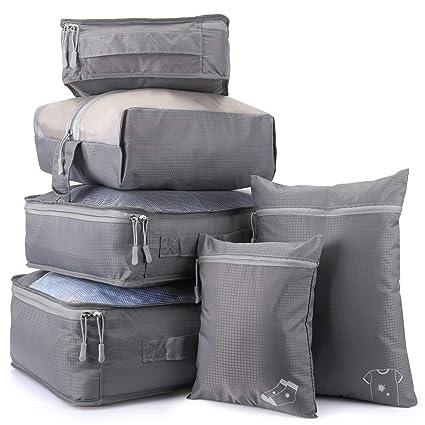 Organizador de Equipaje Impermeable, 6 Set de Organizador de Viaje para Maletas con Bolsa de Almacenamiento Transpirable para Zapatos, Ropas Sucias y ...