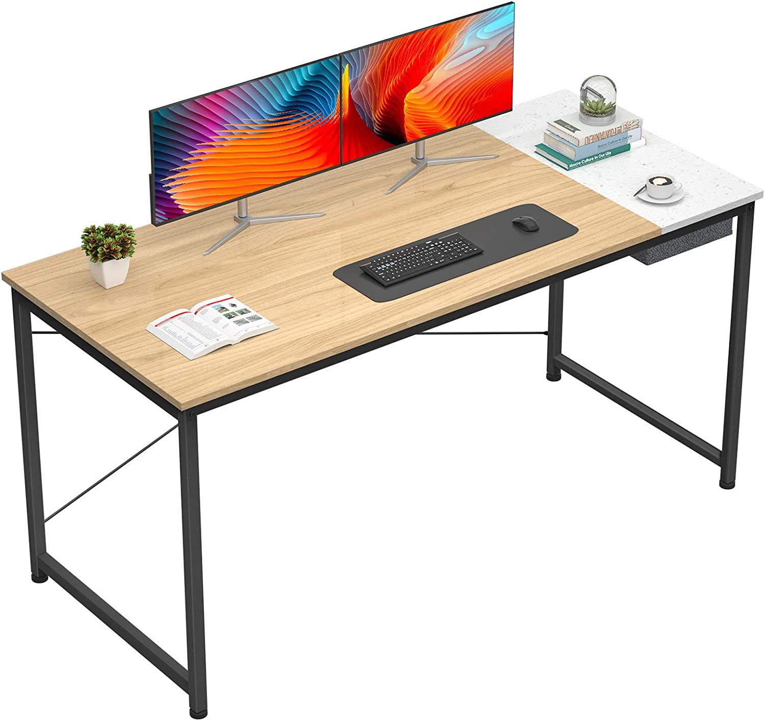 Foxemart Computer Desk, 55 Inch Study Writing Desk for Home Office Workstation, Modern Simple Style Laptop Table with Storage Bag/Drawer, Natural Terrazzo