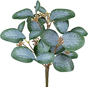 3 Pcs Faux Seeded Eucalyptus Leaf Stems Bulk Artificial Greenery Stems Fake Silver Dollar Eucalyptus Leaf Branches for Floral Arrangement Vase Centerpieces Bouquets Wedding Holiday Greens Decor