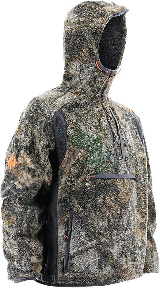 Nomad Men's Cottonwood 12 Zip Camo Jacket | Quiet Windproof Berber Fleece Hunting Jacket with Fleece Lined Hood and Kangaroo Pockets