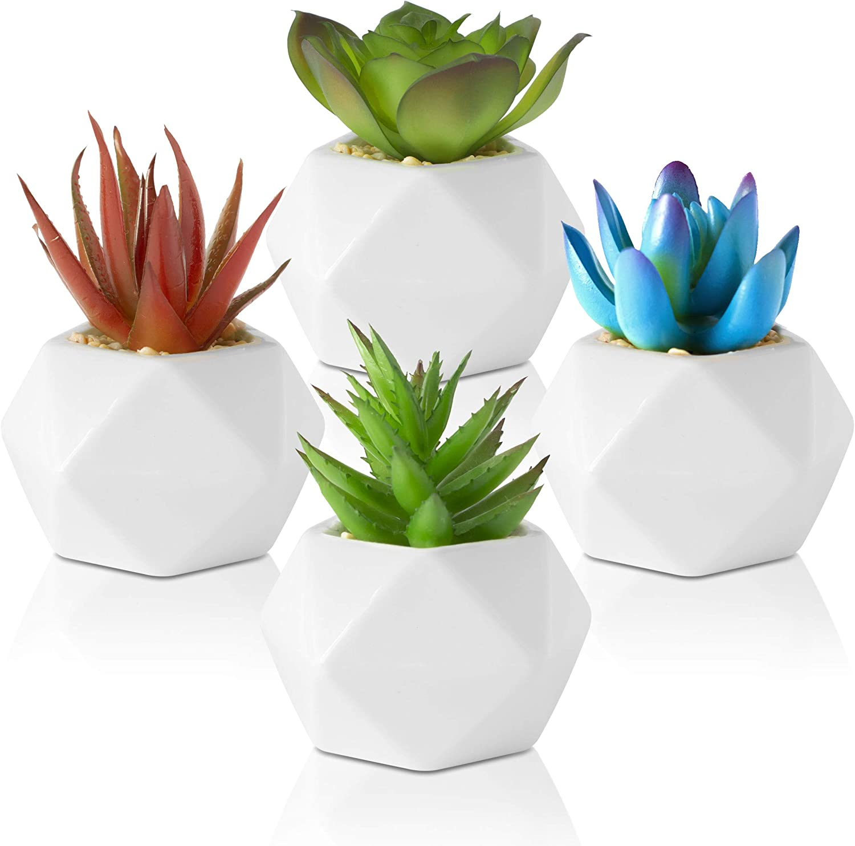 Leafy Corner Succulents Plants Artificial – Pack of 4 Mini Plants in Ceramic Pots – Succulent Plants for Bedroom Decor, Bathroom Plants & Office Decorative Plants