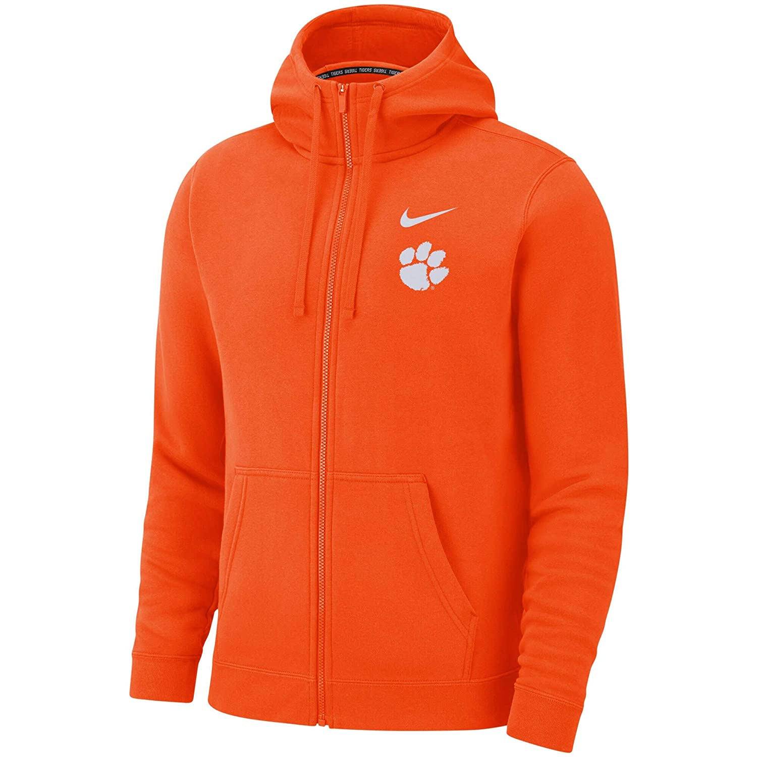 Nike Mens Orange Clemson Tigers Club Fleece Full-Zip Hoodie