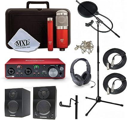 Casa estudio de grabación Bundle MXL 550/551R sr350 soporte Focusrite Scarlett 2I2 (2nd Gen) Samson media One BT3 altavoces: Amazon.es: Instrumentos musicales